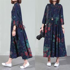 Vintage Art Ethnic cotton dress women loose linen by Aliceswool