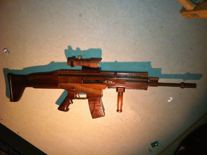 I got permission to build this in woodshop, so I gave it a shot. | Assault rifle, Woodworking ...