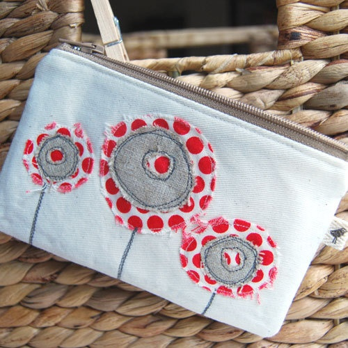 rosie appliqué coin purse by evielala on Etsy, $25.00