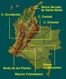 Resultado de imagen de mapa de las cordilleras oriental, central y occidental de colombia