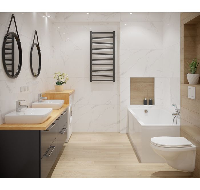 Wyraziste Dodatki W Lazience Leroy Merlin Gres Szkliwiony Classic Carrara 59 7 X 119 7 Marmara Grzejnik Lazie Round Mirror Bathroom Bathroom Mirror Mirror