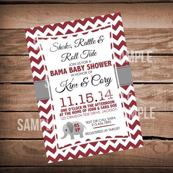 Chevron University of Alabama Baby Shower Invitation on Etsy, $10.00
