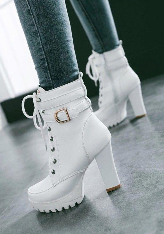 f6b6ee0fb7 Weiß Schnürung Mit Gürtel Blockabsatz Plateau High Heel Stiefeletten  Elegantes Damen Winter Schuhe Short Ankle Boots