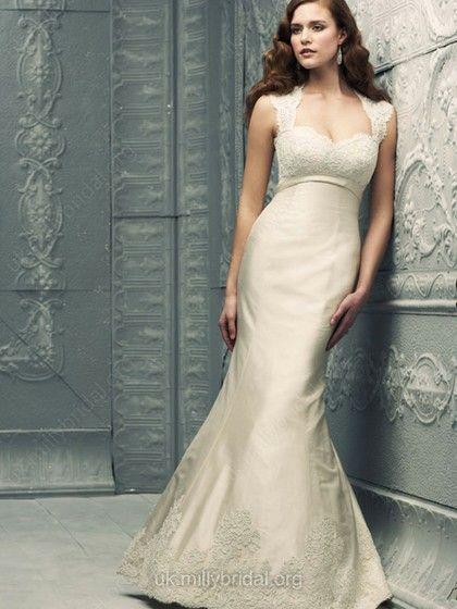 Trumpet/Mermaid Sweetheart Taffeta Sweep Train Lace Wedding Dresses -GBP£158.69