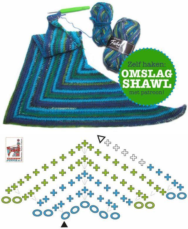 Indents Shawl, free pattern diagram. Very simple top-down triangle, all SC. Diagram indicates 2SC in the first & last stitch of each row, plus 3SC increase in the center. . . . . ღTrish W ~ http://www.pinterest.com/trishw/ . . . . #crochet