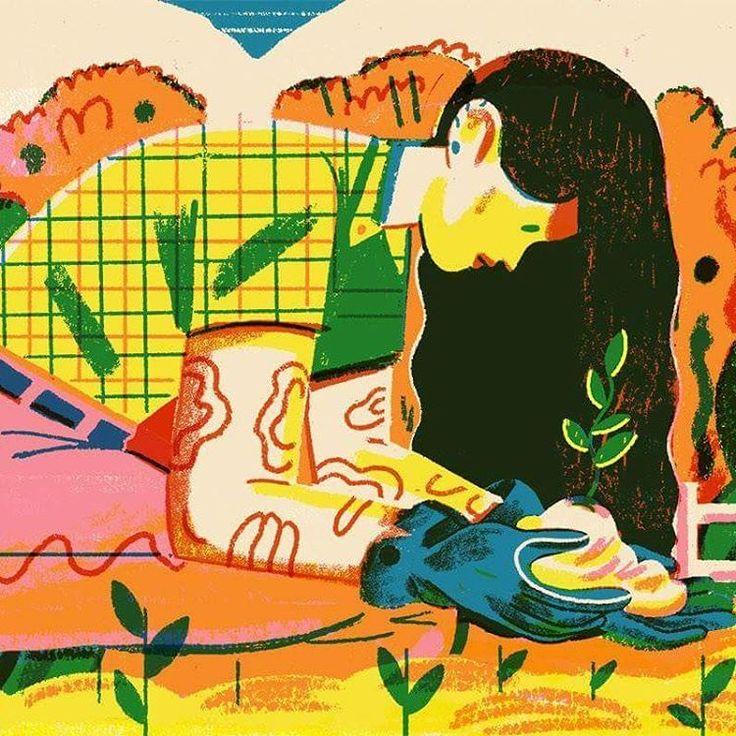 Gardening farming woman illustration