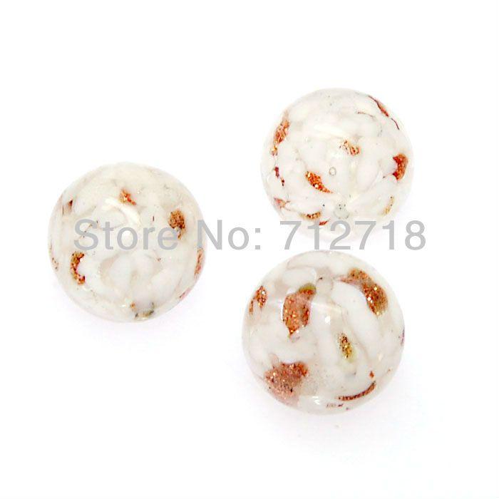 Bead, handmade lampwork, двойной спирали, goldsands, Высокое качество ручной работы Стеклянные бусы, 15 мм круглые бусины, белый, продается 24 шт.