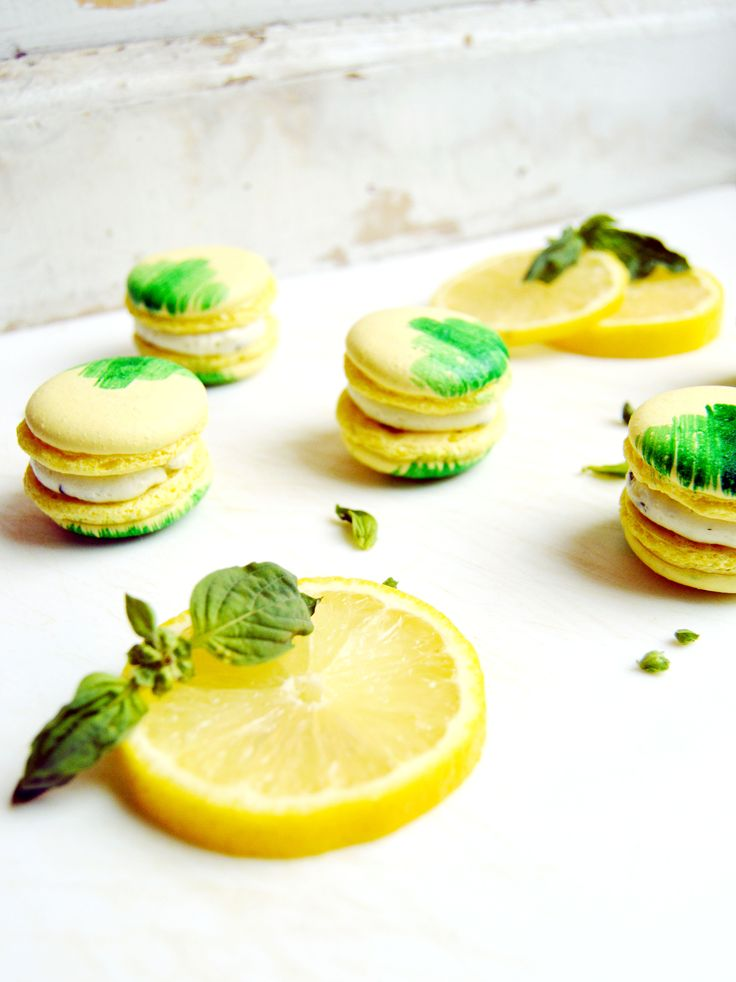 Lemon basil macarons. | macarons | Pinterest | Lemon Basil, Basil and ...