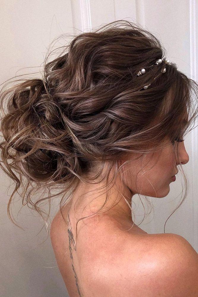 Wedding Hairstyles 2019 Curly Low Bun With Loose Curls Veronika Belyanko Messy Hair Updo Long Hair Styles Medium Hair Styles