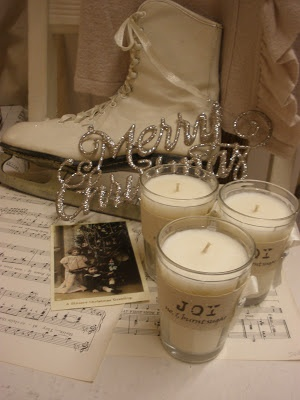 A Gliitter Merry Christmas, some music sheets, and candles... Everyone can do this....Merry White Christmas to all and to all a good night!: