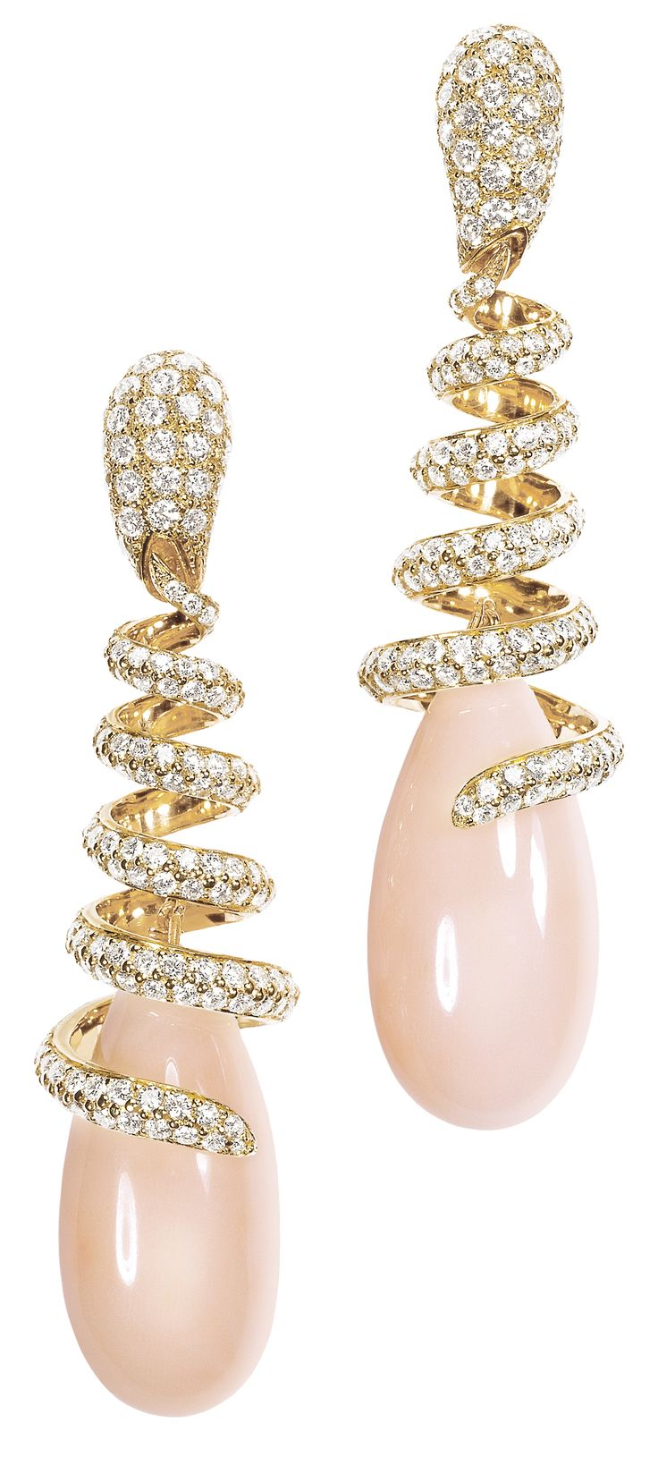 De Grisogono High Jewellery: coral and diamond drop earrings.