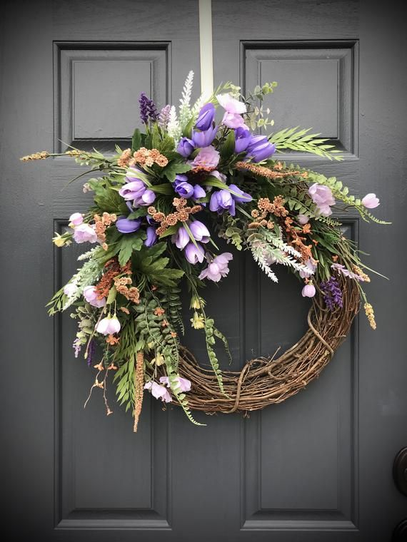 Spring Wreaths Easter Wreath Tulip Wreaths Purple Door Wreath