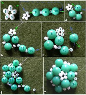 Natalie S Perlen: Beaded Bead - picture tute version of 5-flower beaded bead. ~ Seed Bead Tutorials