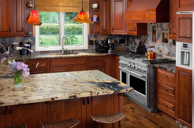 Craftsman Kitchen with Inset cabinets, Breakfast bar, Chantal copper tea kettle, Undermount sink, High ceiling, Pendant light