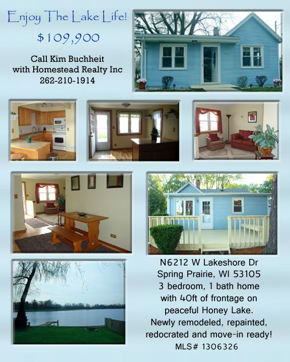Come see this beautifully redecorated, adorable 3bd/1ba lake home. Located in Walworth county, but right on the border of Racine County. Hwy43 access in nearby East Troy. Burlington schools. Home includes kitchen appliances, home warranty and sits on 40ft of frontage on peaceful Honey Lake with great fishing. Perfect for vacation home, income property or live here full time. See more pics/info on any real estate site by searching MLS#1306326. Call Kim with Homestead Realty Inc 262-210-1914.