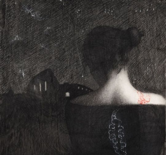 Omar Galliani - charcoal on paper
