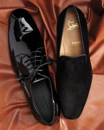 "A Formal Affair: Shoes    Consider slick patent leather lace-ups -- or prove that not just Hugh Hefner can sport a slipper. You'll look swanky, not silly, in a pair that's black and not overly embellished.    The Details (from left): Gucci derby shoes (mrporter.com). Christian Louboutin suede ""Dandy Flat"" slippers."