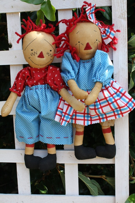 Andy Doll Pattern Raggedy Pair Retro Primitive by anniescupboards, $7.00: