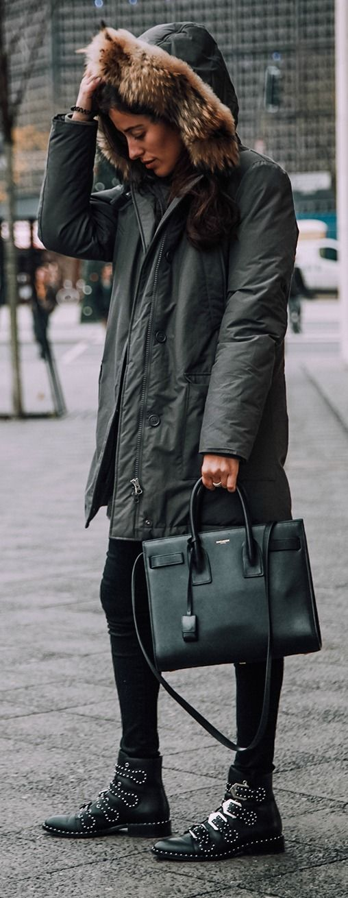 Studded ankle boots + parka.