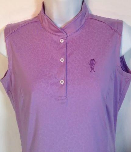 Womens-Oxford-Golf-Shirt-Small-Sleeveless-Mandarin-Collar-Seahorse-Floral-Purple