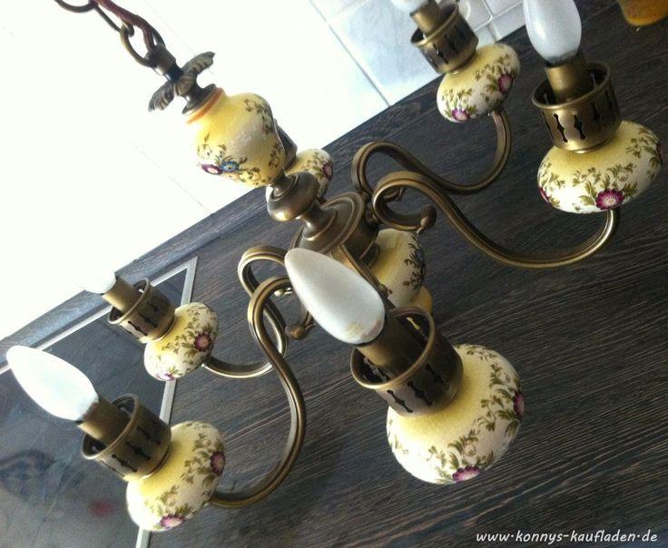 Antike Decken Leuchte Lampe KRONLEUCHTER aus MESSING und PORZELLAN 6 Flammig TOP