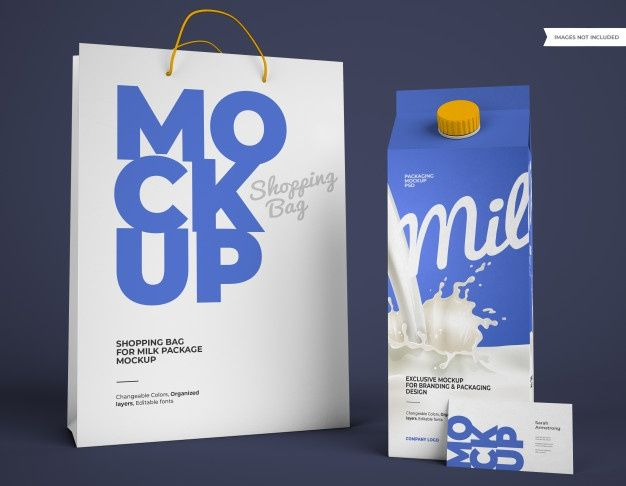 Download Milk Package Mockup With Shopping Bag And Business Card Milk Packaging Bag Business Cards Packaging