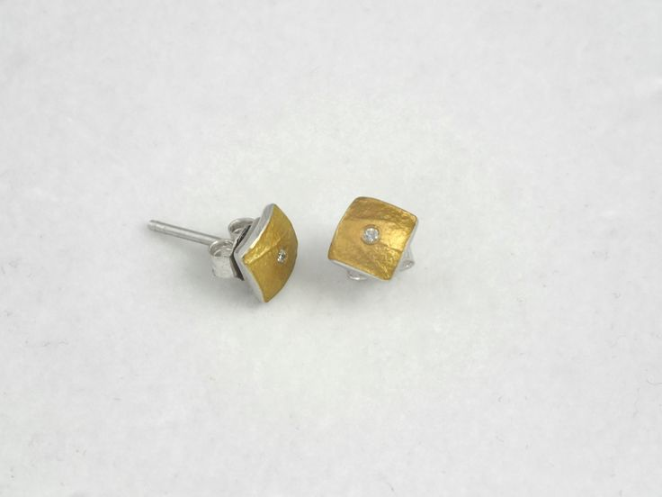 Minimal hammered gold and silver square earrings with diamond and a rough surface. by TomisCraft on Etsy
