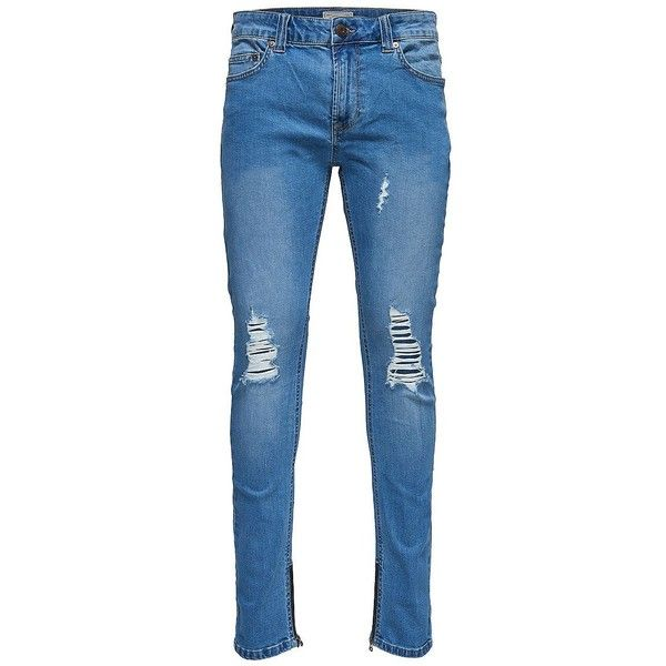 Only and Sons Men's Ripped Skinny Jeans (€39) ❤ liked on Polyvore featuring men's fashion, men's clothing, men's jeans, light blue, mens jeans, mens distressed skinny jeans, mens ripped skinny jeans, mens destroyed skinny jeans and mens torn jeans