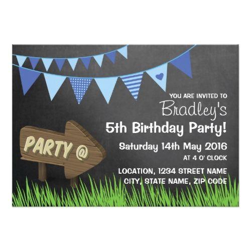 Boy's Chalkboard Birthday Invitations Blue Bunting Sign Chalkboard boys Birthday Party Card