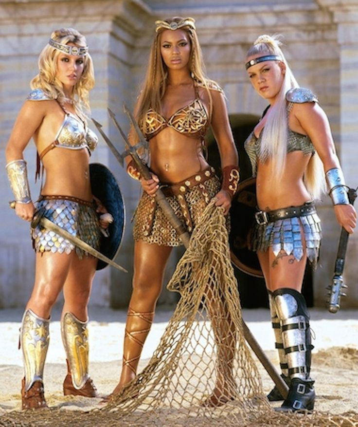 Pepsi Gladiators from Beyoncé Moments You Forgot Existed  Remember when the princesses of pop Britney Spears, Pink and Beyoncé posed as fierce sword-wielding gladiators to promote Pepsi? Now you do.