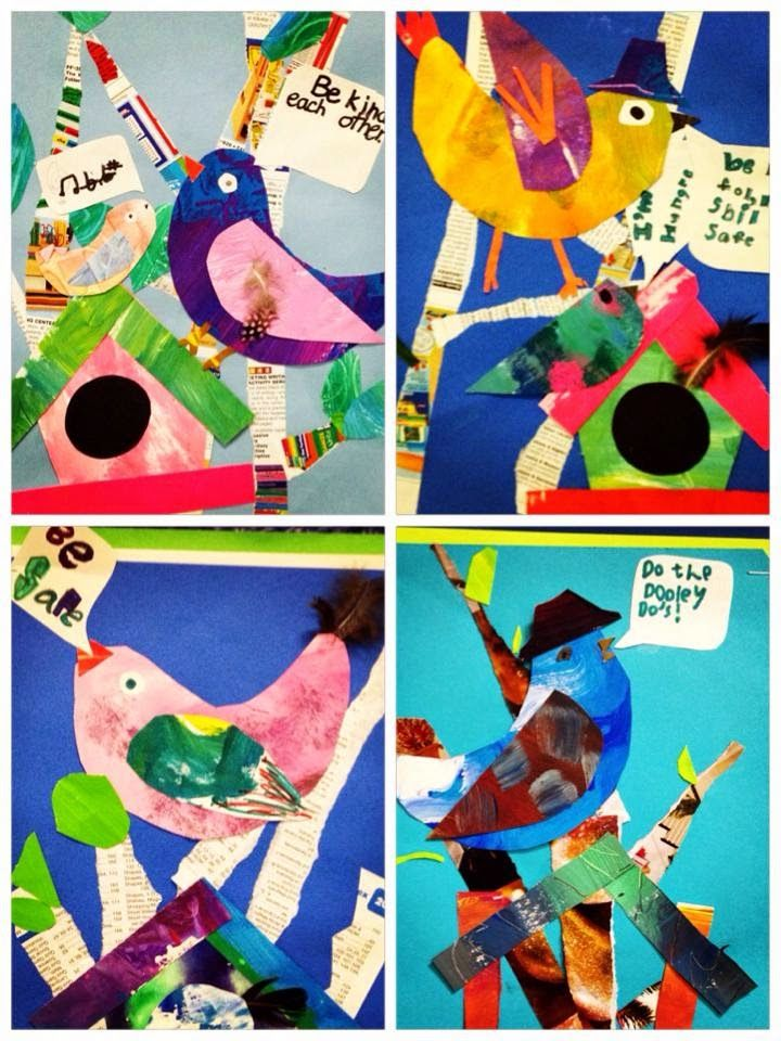 For the Love of Art: 1st and 2nd Grade Bird Collages
