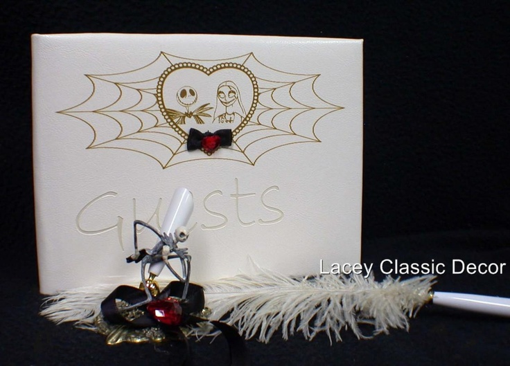 Nightmare before Christmas Wedding GUEST BOOK & pen set DISNEY Halloweeen Jack Sally. $39.50, via Etsy.