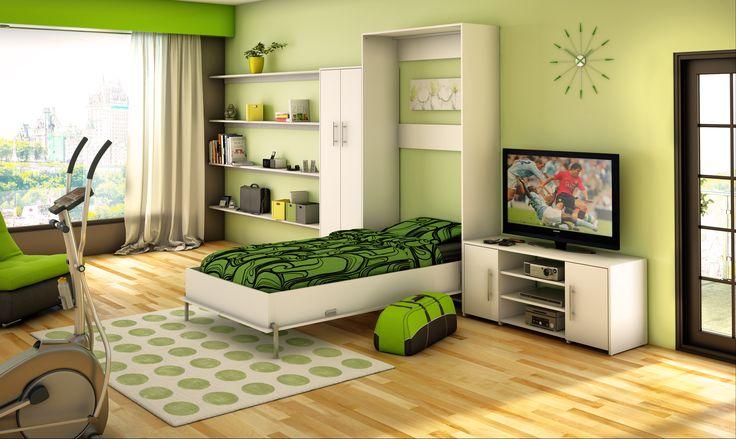 Chambre d'adolescent tons verts, green color teenage room. Wall bed. Lit mural.