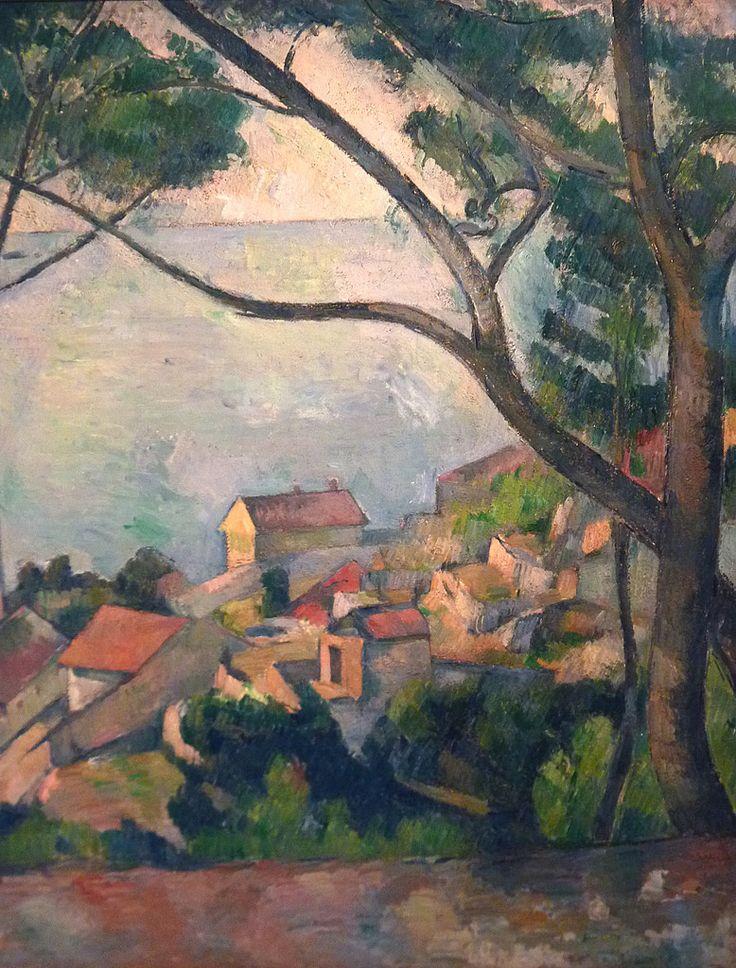 CEZANNE,1878-79 - Mer à l'Estaque, derrière les Arbres - Sea at l'Estaque (Musée Picasso) - Detail -ha  -   CEZANNE,1878-79 - Mer à l'Estaque, derrière les Arbres - Sea at l'Estaque (Musée Picasso) - Detail -i  - Cézanne à Pissarro : « il y a des motifs qui demanderaient trois ou quatre mois de travail, qu'on pourrait trouver, car la végétation n'y change pas. Ce sont des oliviers et des pins qui gardent toujours leurs feuilles. »  (L'Estaque, 2 juillet 1876)
