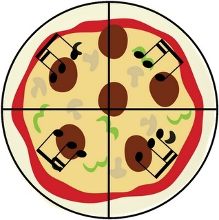 MUSIC composing with pizza fractions... Going to do this with 4th grade!