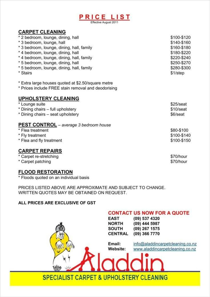 9 Cleaning Price List Templates Clean house, Cleaning