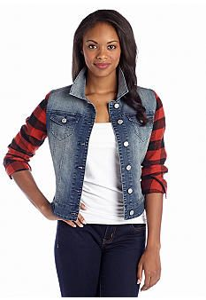 20$ Almost Famous Flannel Sleeve Jean Jacket: