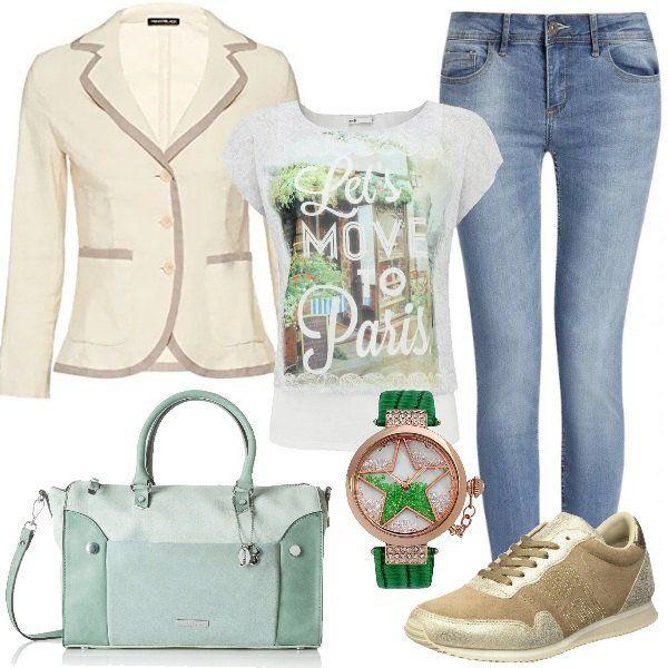 Un+delicato+look+perfetto+per+tutti+i+giorni,+quando+si+hanno+mille+cose+da+fare+e+vogliamo+sentirci+comode+e+belle.+In+questo+caso+ho+scelto+jeans+skinny,+maglietta+a+due+strati+con+stampa,+giacca+bianco+avorio,+sneakers+basse+sand,+borsa+a+mano+pastel+green+e+bellissimo+orologio+di+colore+verde.
