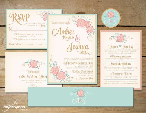 Wildflower Flourish Printable Wedding Invitation Set by MyCrayons Papeterie // DIY Printable Wedding Invite with RSVP Postcard // Mint and Peach, Blush Pink and Gold Floral, Flourishes