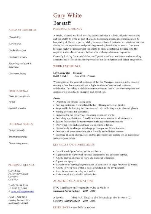 bar staff CV sample, dining, restaurant, resume, job application - Examples Of Resumes For Restaurant Jobs