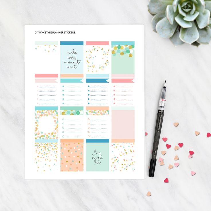 Free printable planner stickers. Will fit Erin Condren Life Planner. Pretty mint and peach colours. Click through to download the free planner stickers.