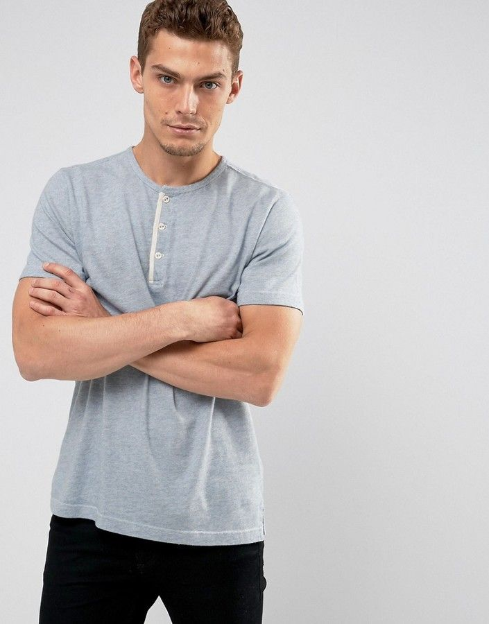 Abercrombie & Fitch Henley T-Shirt White Label Slim Fit in Blue Marl