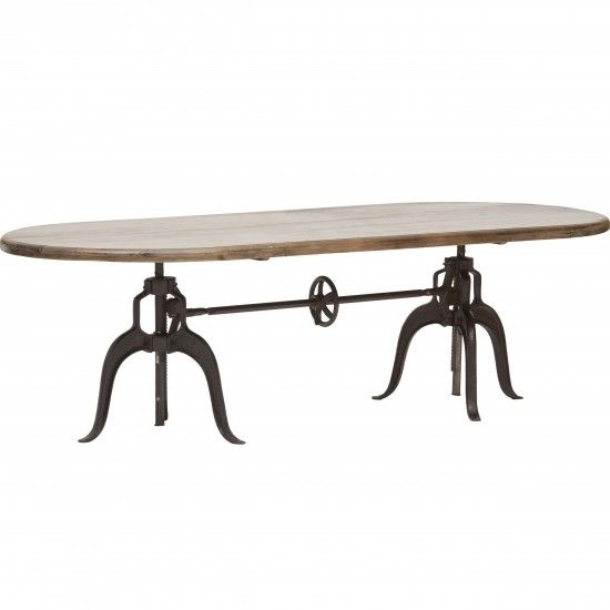 Jackson Rectangular Table With Metal Base: Double Crank Oval Dining Table At High Fashion Home