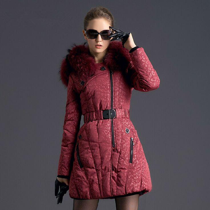 New Women Winter Coat Fashion raccoon Fur Collar Warm Coats Woman Long Outerwear  Parkas Down Jacket raccoon fur collar
