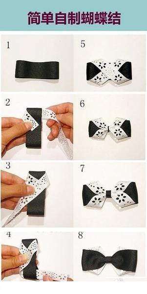 简单蝴蝶结。好可爱。【阿团丸子】