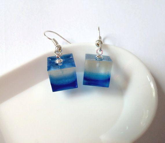 Resin Blue Cube earrings by LittleWoolShop on Etsy, $12.00