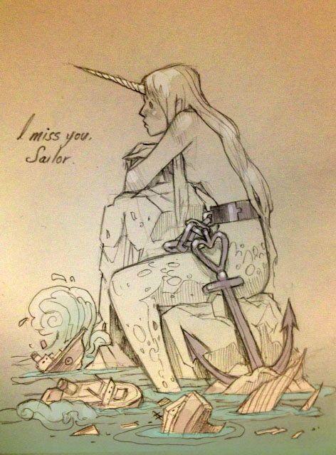 I miss you sailor, sketch Chiara Bautista