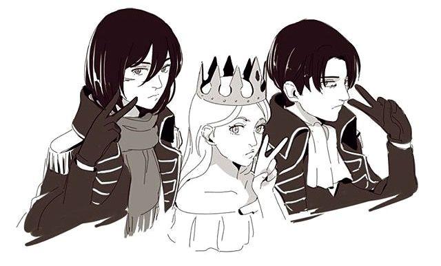 Queen Historia and her Ackerman knight Mikasa Levi modern fashion