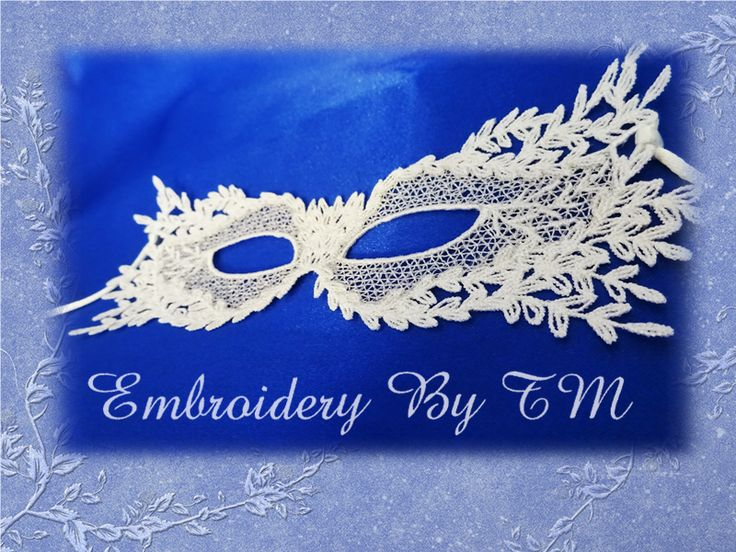 (10) Name: 'Embroidery : Lace mask leaves-FSL- two size
