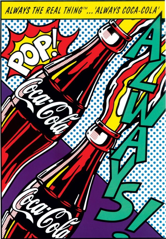 This is a really cool piece, and I can tell right away that it's pop art. You can tell because of the sound words, and the bright colors. Pop art was really popular in the 1900's because it was commercial art, but with a twist.